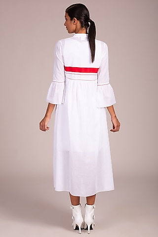 White & Red Striped Long Overshirt by Wendell Rodricks