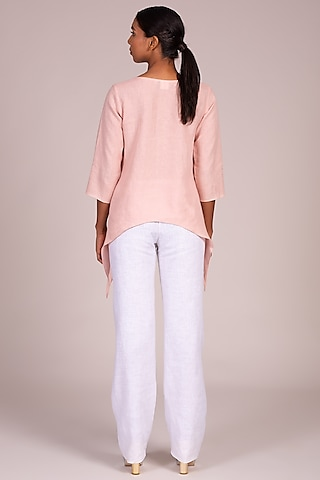 Pink Embroidered Top With Curved Hem by Wendell Rodricks