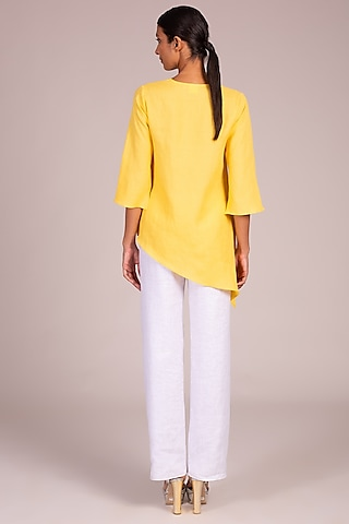 Yellow Embroidered Asymmetric Top by Wendell Rodricks