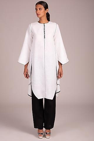 White Angular Hem Tunic by Wendell Rodricks