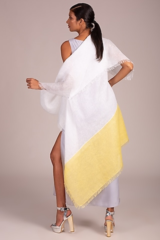 White Color Blocked Cape With Fringe by Wendell Rodricks