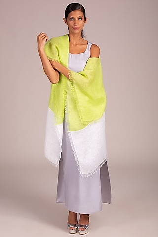 Lime Color Blocked Cape With Fringe by Wendell Rodricks