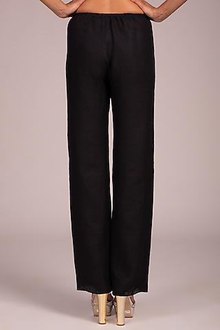 Black Flat Front Palazzo Pants by Wendell Rodricks