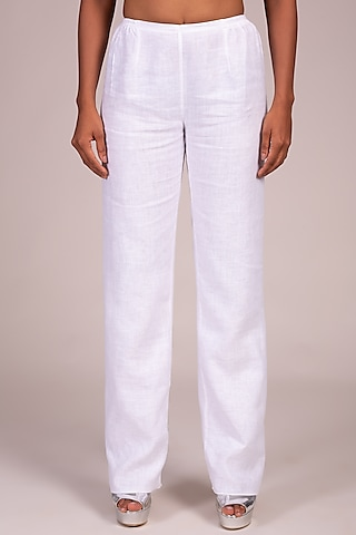 White Flat Front Palazzo Pants by Wendell Rodricks