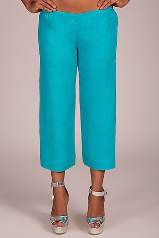 Blue Flat Front Culotte Pants by Wendell Rodricks