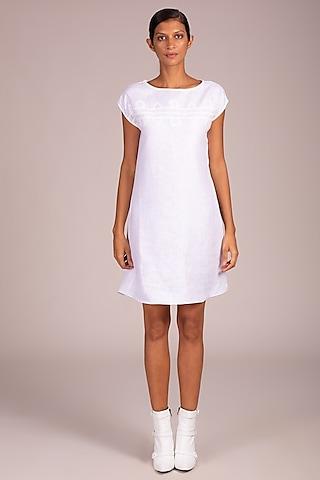 White Dress With Trellis Patchwork by Wendell Rodricks