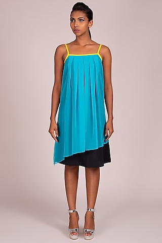 Turquoise Pleated Strappy Dress by Wendell Rodricks