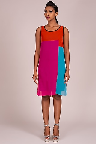 Multi Colored Sleeveless Dress by Wendell Rodricks