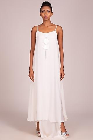White Layered Strappy Gown by Wendell Rodricks
