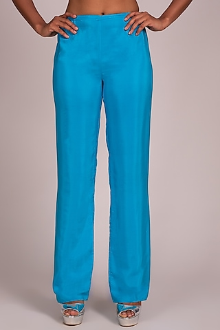 Turquoise Layered Palazzo Pants by Wendell Rodricks
