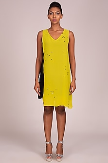 Yellow Embroidered Sleeveless Dress by Wendell Rodricks