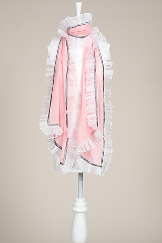 Light Pink Crinkled Stole by Wendell Rodricks