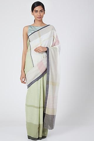 Olive Pastel Handloom Kunbi Saree by Wendell Rodricks