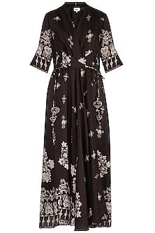 Black Printed Kimono Style Maxi Dress With Belt by Whimsical By Shica