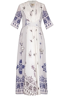 White Printed Flared Kimono Dress With Belt by Whimsical By Shica