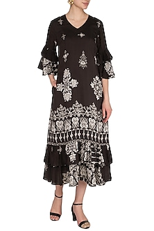 Black Printed & Ruffled Dress by Whimsical By Shica