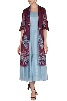 Light Blue Flared Printed Dress With Attached Jacket  by Whimsical By Shica
