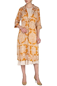 Mustard Printed Jacket With Crinkle Dress by Whimsical By Shica