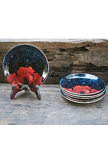 Midnight Blue Plates (Set of 6) by White Hill Studio