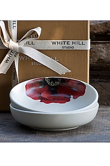 Ivory & Red Shallow Bowls (Set of 2) by White Hill Studio