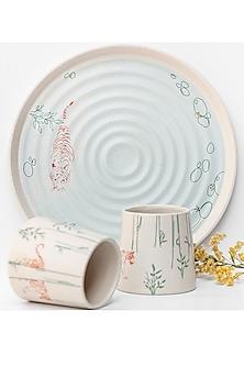 Ivory Tumbler & Platter Set  (Set of 3) by White Hill Studio