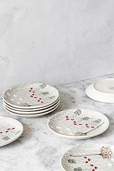 White Striped Plates (Set of 6) by White Hill Studio