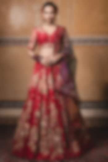 Red Printed & Embellished Kalidar Lehenga Set by Tarun Tahiliani