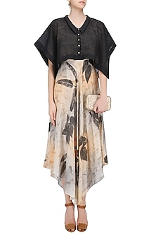 Peach and Black Botanical Hand Printed Dress by Whimsical By Shica