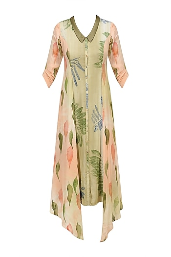 Peach and Green Botanical Hand Printed Shirt Dress by Whimsical By Shica