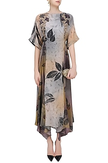 Peach and Black Botanical Hand Printed Asymmetric Dress by Whimsical By Shica