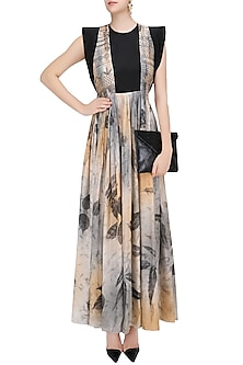 Peach and Blue Botanical Hand Printed Long Dress by Whimsical By Shica