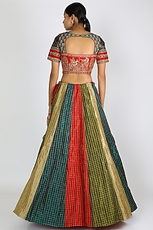 Multi Colored Embroidered Lehenga Set by W.N.W