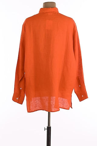 Orange Button Down Shirt by Wendell Rodricks Men