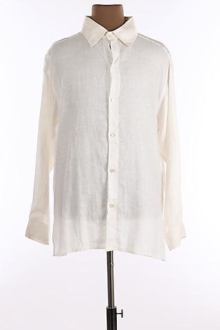White Linen Shirt by Wendell Rodricks Men