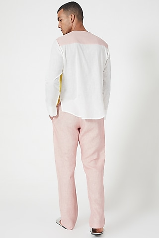 Pink Pants With Side Pockets by Wendell Rodricks Men