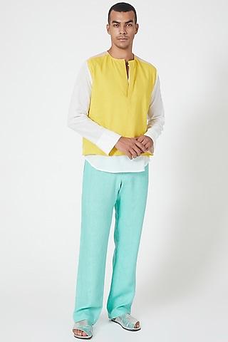 Mint Linen Pants With Side Pockets by Wendell Rodricks Men