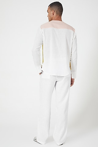 White Linen Pants With Side Pockets by Wendell Rodricks Men