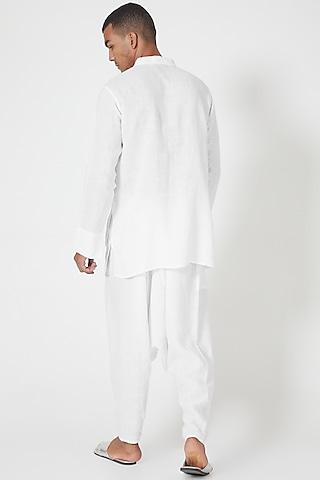 White Overlapped Tunic Shirt by Wendell Rodricks Men