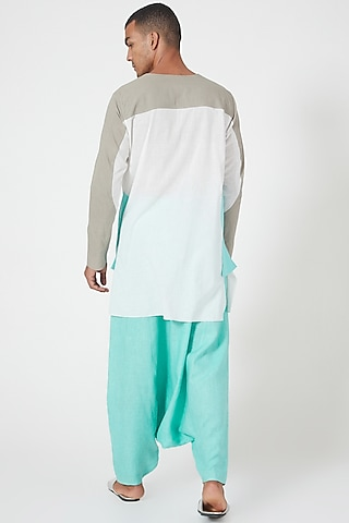Ivory Tunic Shirt With Color Blocking by Wendell Rodricks Men
