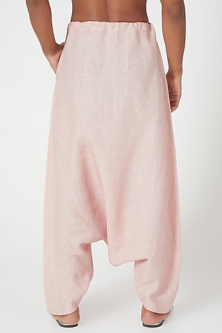 Pink Dhoti Pants With Side Pockets by Wendell Rodricks Men