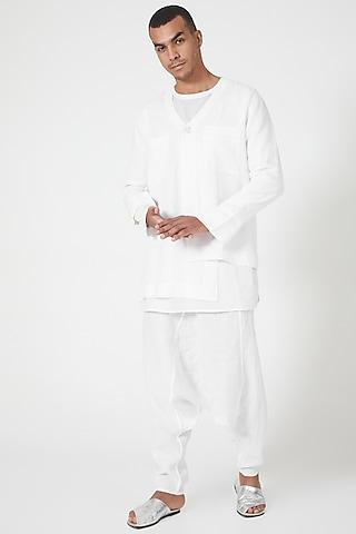 White Linen Dhoti Pants by Wendell Rodricks Men