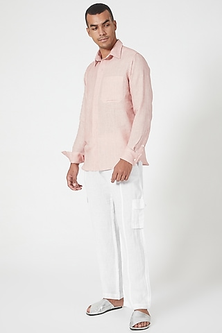 Pink Embroidered Shirt With Patch Pocket by Wendell Rodricks Men