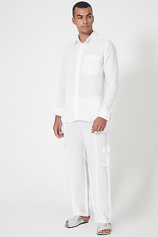 White Linen Striped Shirt by Wendell Rodricks Men