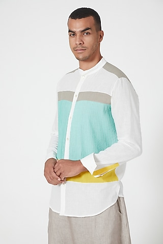 Ivory Shirt With Color Blocking by Wendell Rodricks Men