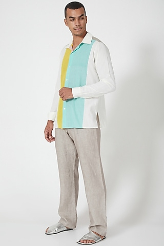 Ivory Cotton Shirt With Classic Collar by Wendell Rodricks Men