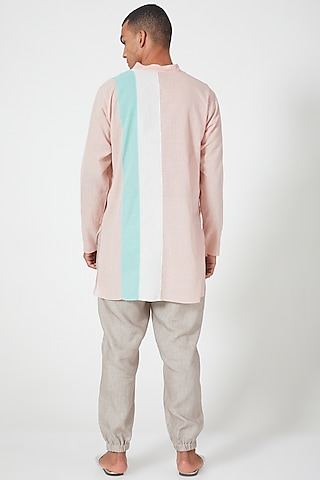 Pink Cotton Tunic Shirt With Color Blocking by Wendell Rodricks Men