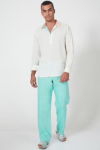 White Patchwork Tunic Shirt by Wendell Rodricks Men