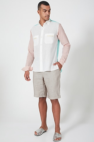 White Shirt With Patch Pockets by Wendell Rodricks Men