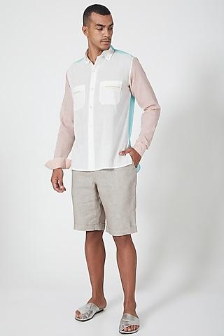 Grey Linen Shorts by Wendell Rodricks Men