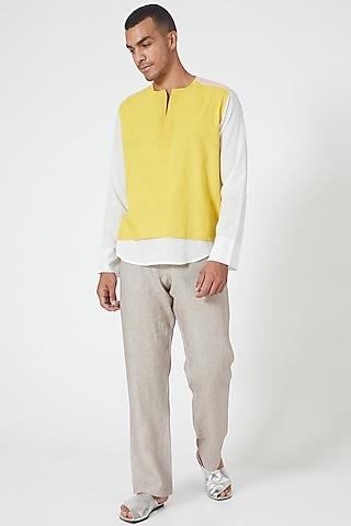 Yellow & White Cotton Tunic Shirt by Wendell Rodricks Men
